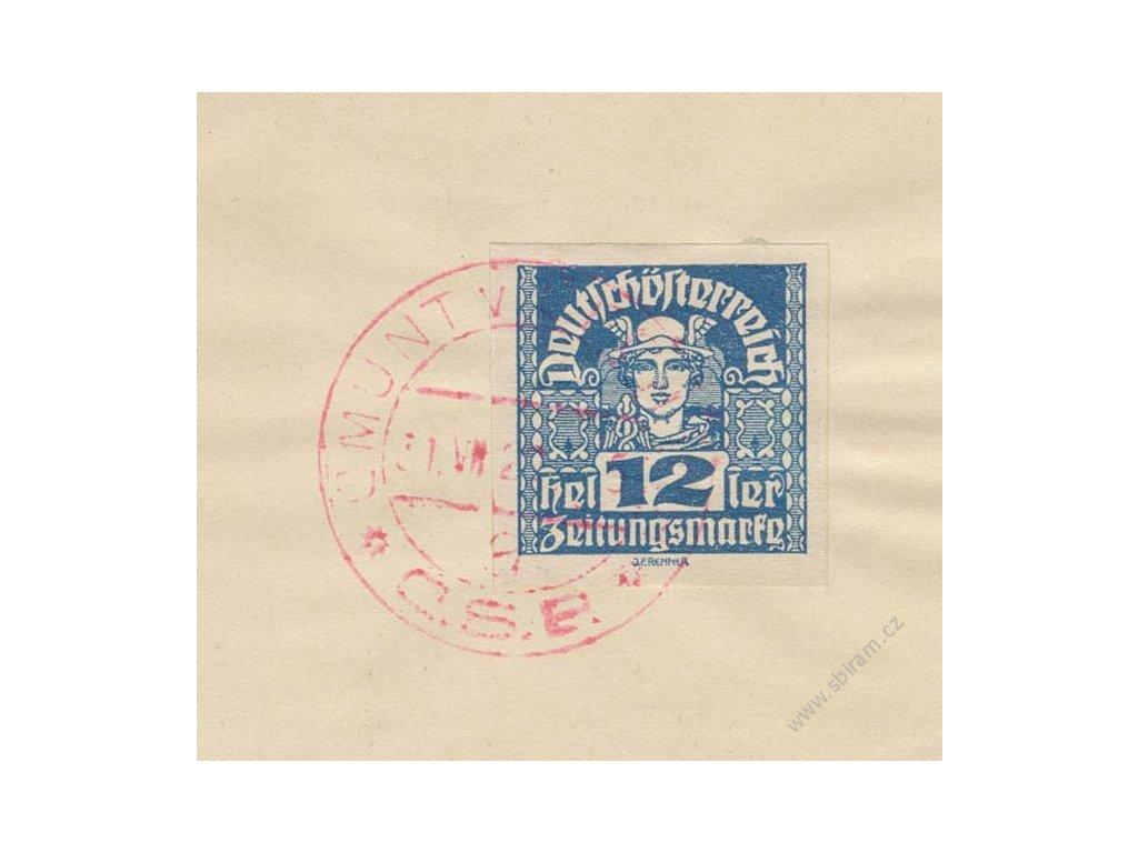 CMUNT, 1920, výstřižek se známkou 12h Merkur