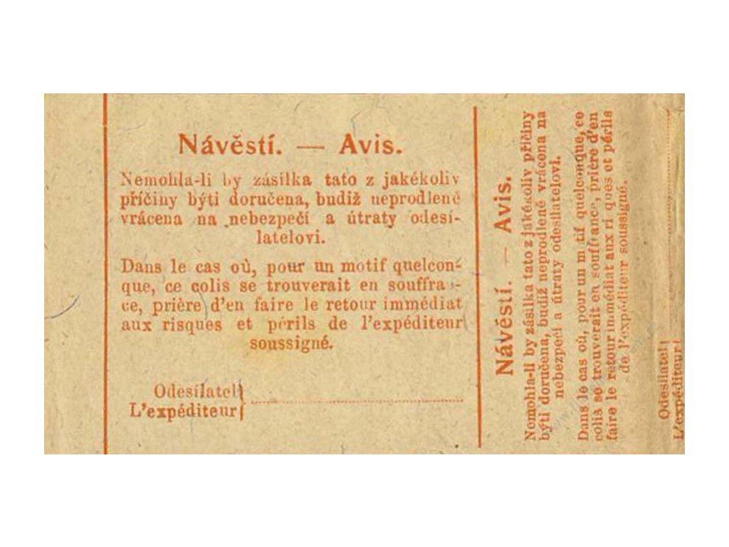 1921, formulář Návěstí - Avis, Tiskopis č. 351 A