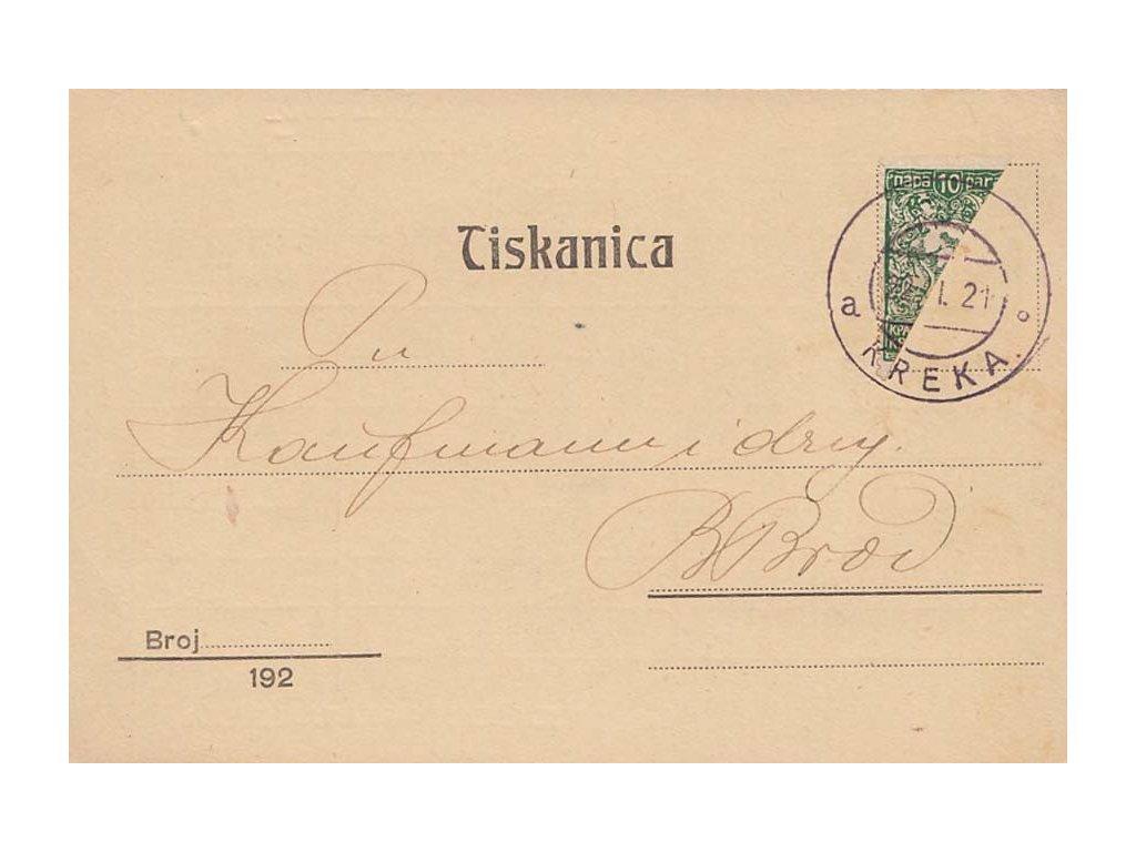 1921, DR Kreka, firemní tiskopis vyfr. zn. 10Pa, zasláno do B.Brodu