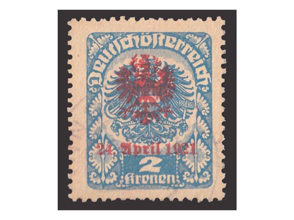 1921, Tiroly, 2Kr s přetiskem, lokální vydání, razítkované