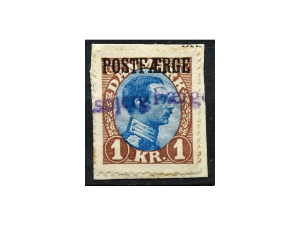 1922, 1Kr Christian s přetiskem POSTFAERGE, výstřižek