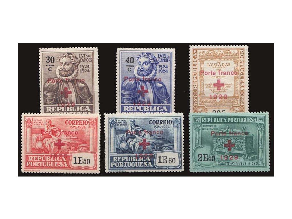 1929, 30C-2.40E série Červený kříž, MiNr.17-22, * po nálepce