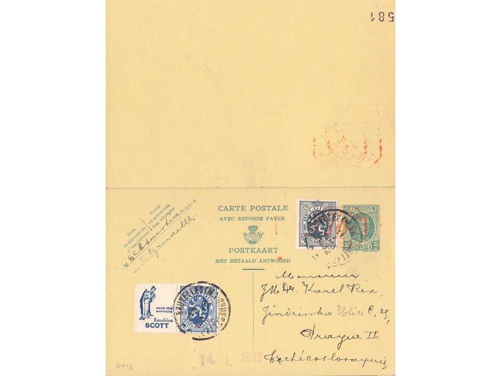 1932, DR Bruxelles, dvojitá dopisnice MiNr.P116, zasl. do ČSR