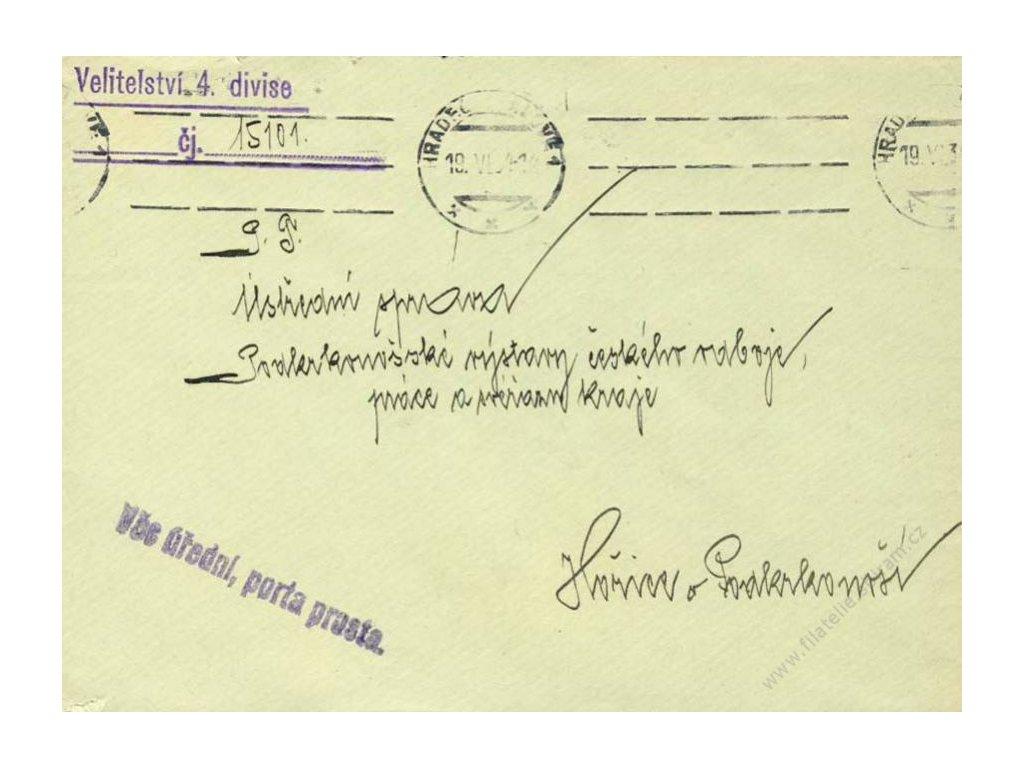 1934, Velitelství 4. divise, DR Hradec Králové