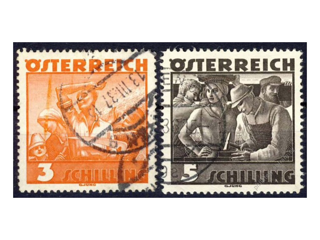 1934, 3 a 5S Pracující, MiNr.586,587, razítko