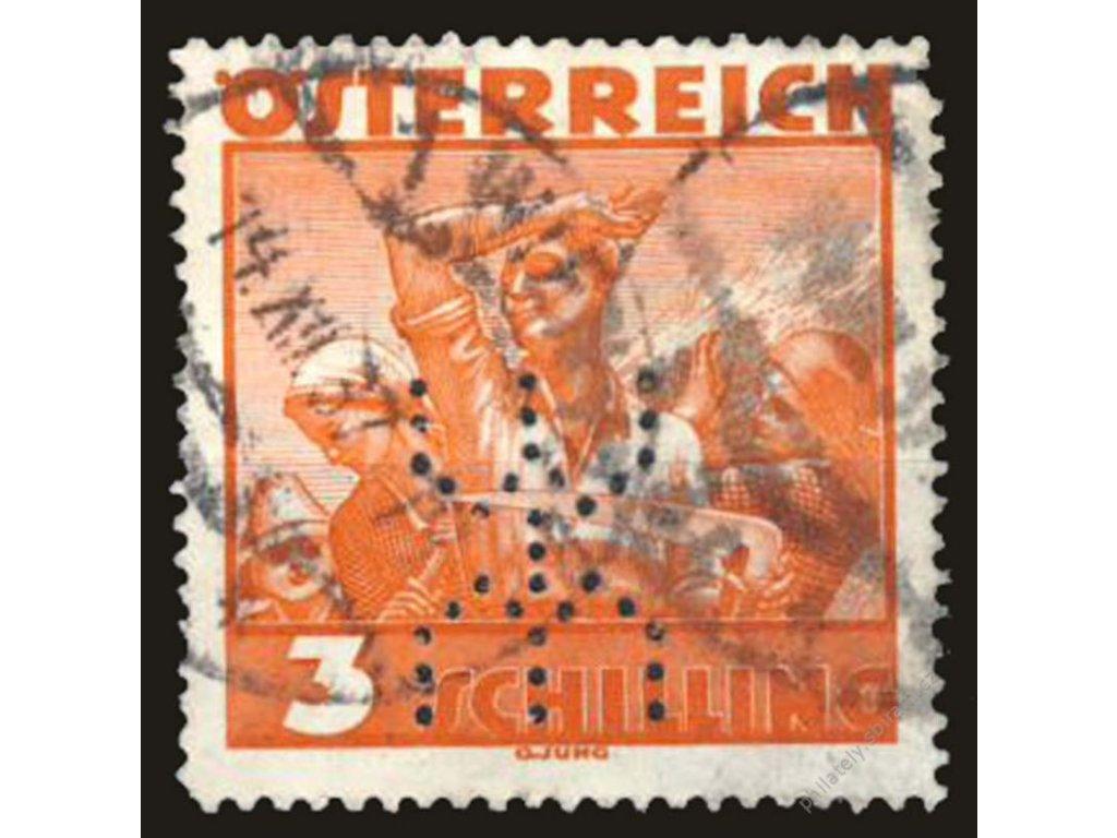 1934, 3S Pracující, perfin, MiNr.586, razítkované