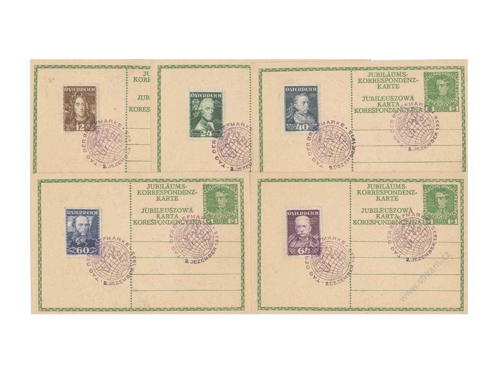 1935, 12, 24, 40, 60 a 64g Vojevůdci, celinové pohlednice