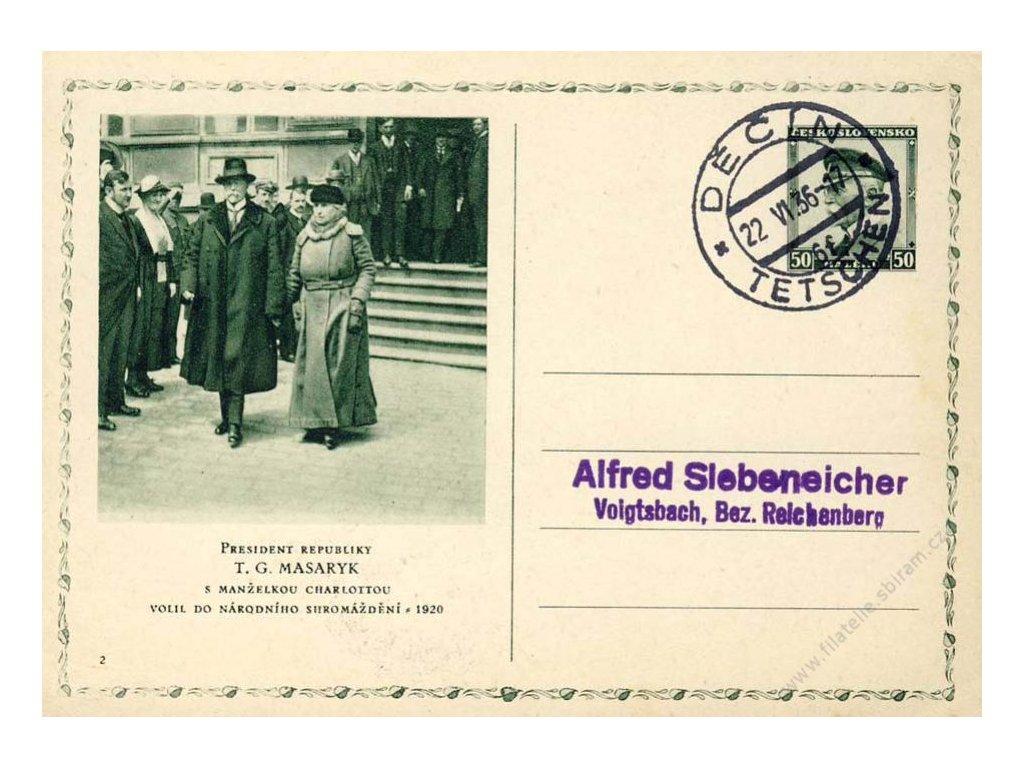 1936, DR Děčín, dopisnice s přítiskem Prohlášení