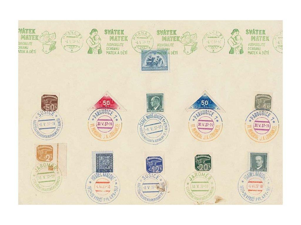 1937, pamětní list s různými razítky, A4, stopy stáří