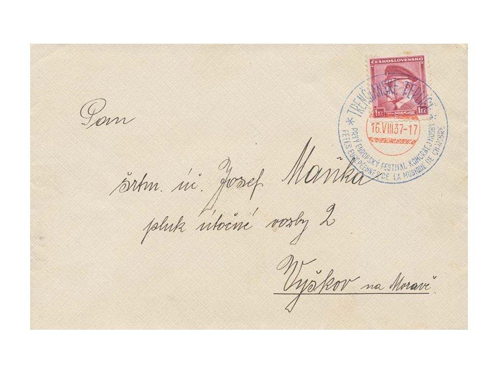 1937, Trenčianské Teplice, festival komornej hudby, dopis