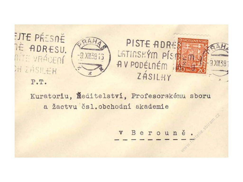 1938, Praha, Pište adresu, tiskopis