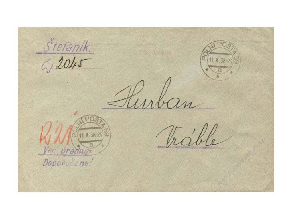 1938, DR PP No.59, R-dopis PP, zasl. do Vráblů