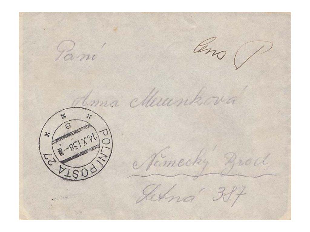 1938, DR Polní pošta 27, dopis zasl. do Německého Brodu, cenzura