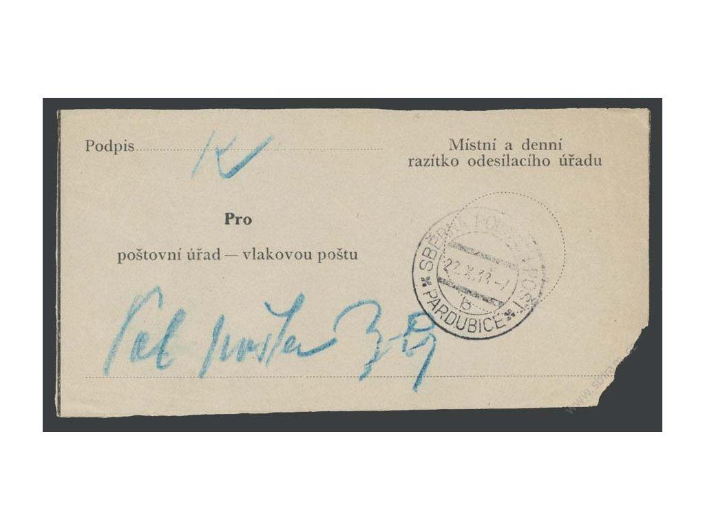 1938, Sběrna polních pošt Pardubice b, stopy pošt. provozu