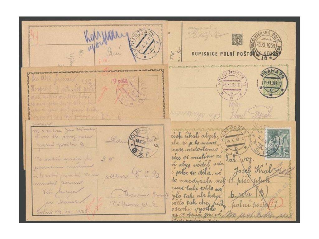 ČSPP 1938, 7 ks celistvostí PP, prošlé v roce 1938