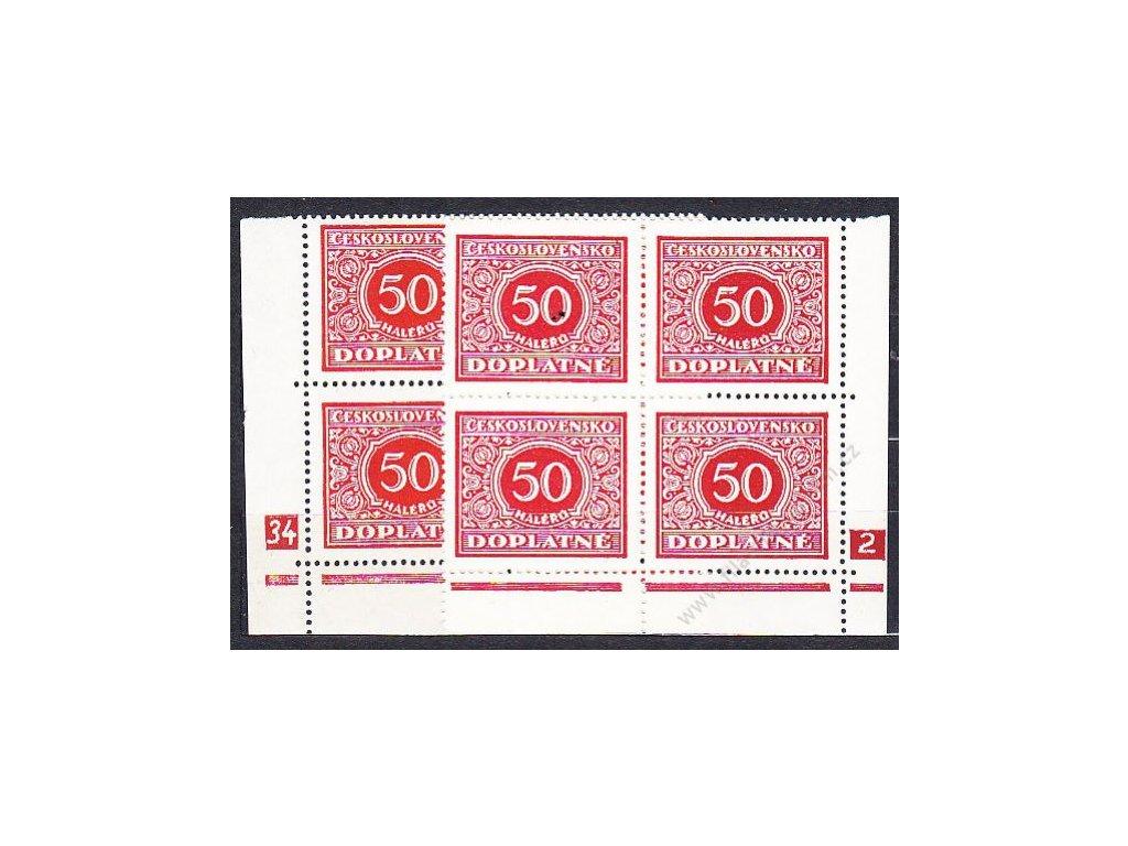50h červená, L+P roh. 4blok s DČ 34-2, Nr.DL60