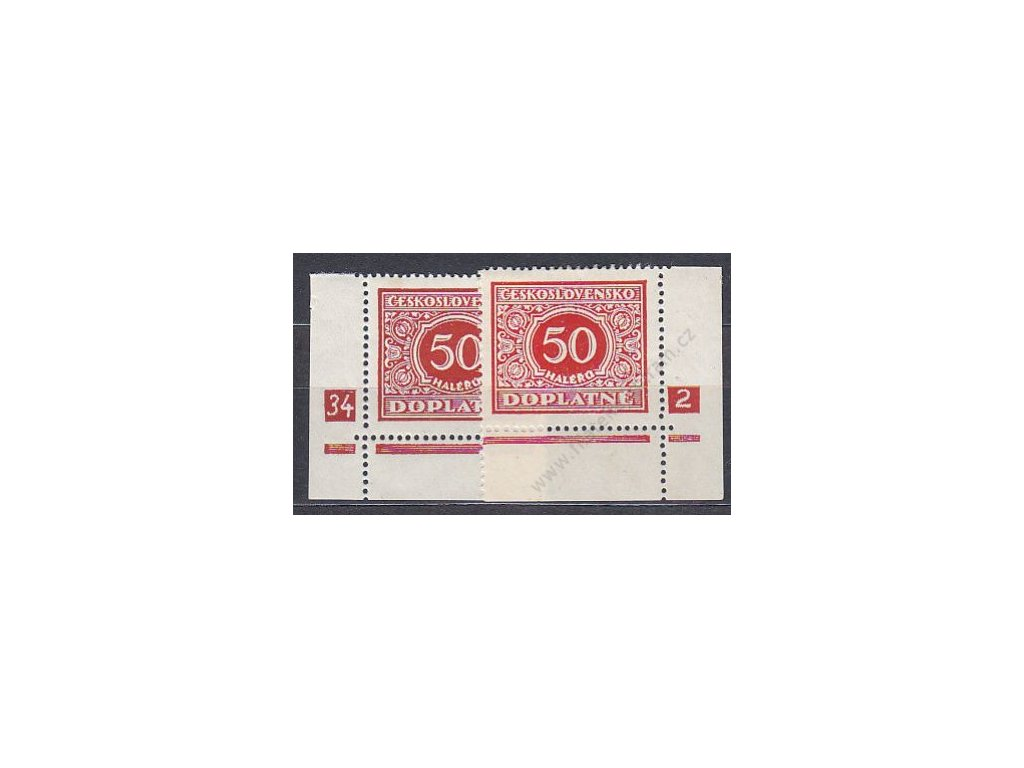 50h červená, L+P roh. kusy s DČ 34-2, Nr.DL60 **/*