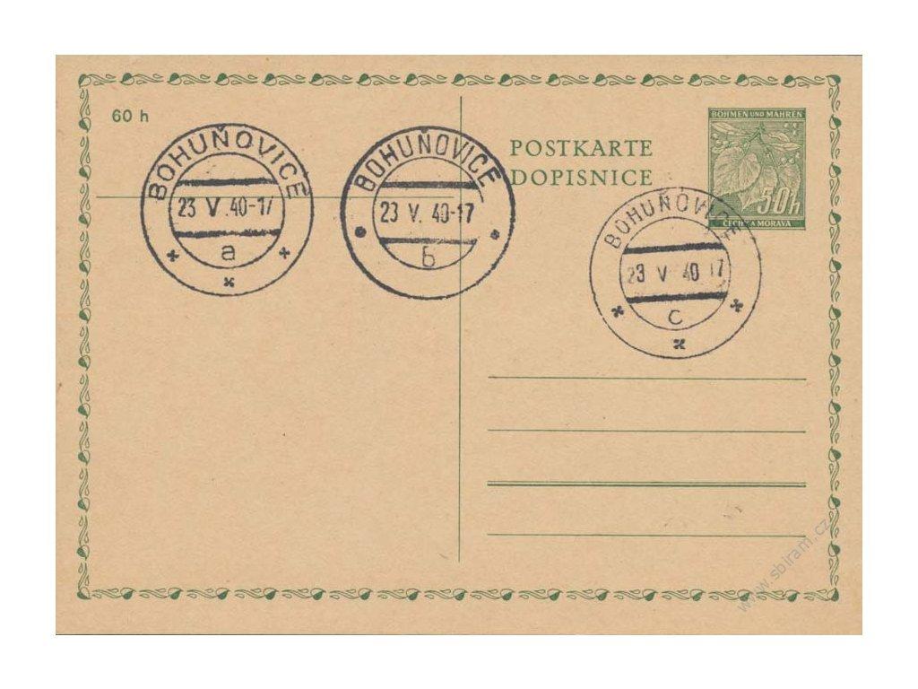 1940, Bohuňovice, různá razítka na dopisnice 50h, neprošlé