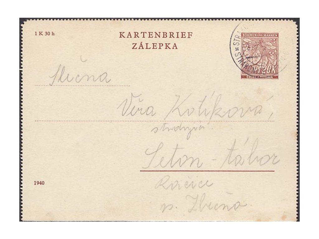1941, CZL 3, DR Strakonice-Březnice, zasláno do Seton - tábor