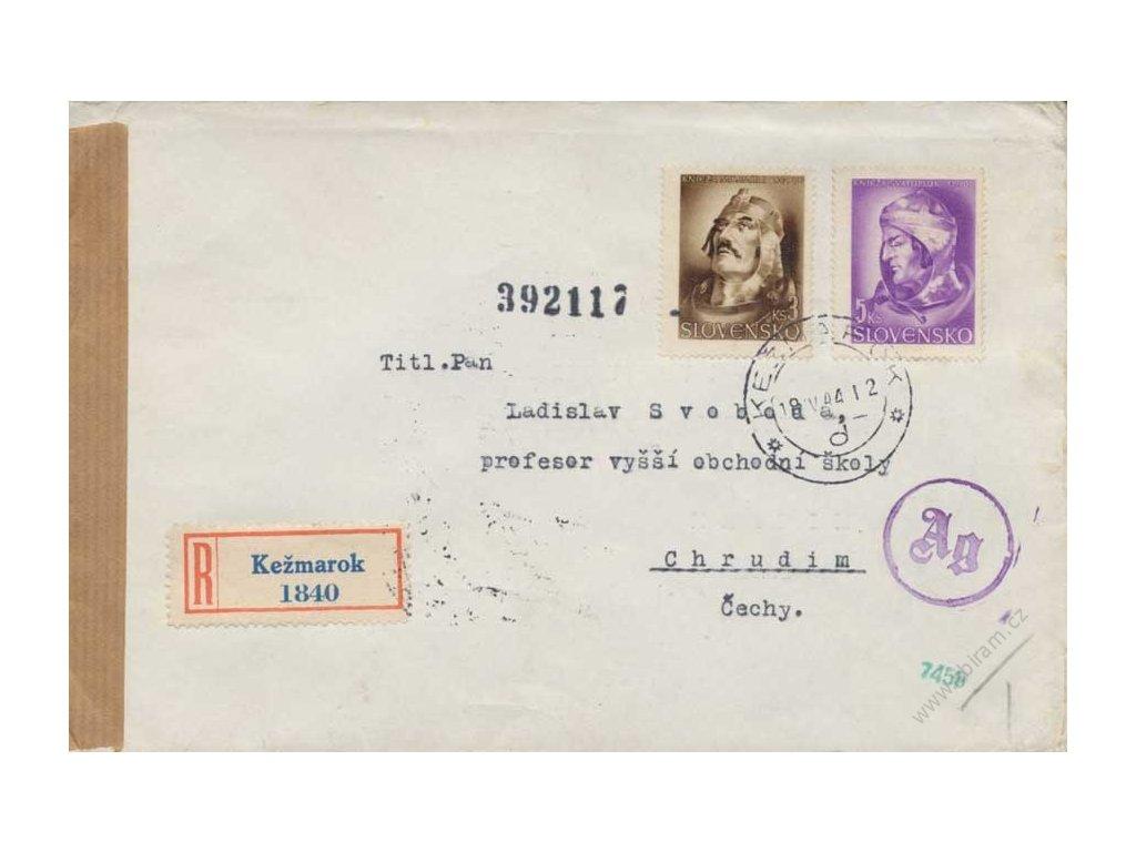 1944, DR Kežmarok, R-dopis zasl. do Protektorátu, cenzura