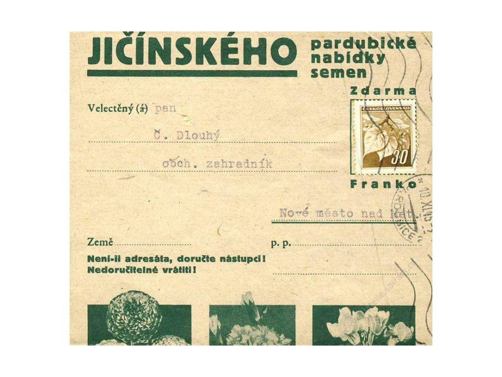 1945, DR Pardubice, tiskopis, novinová páska, reklama