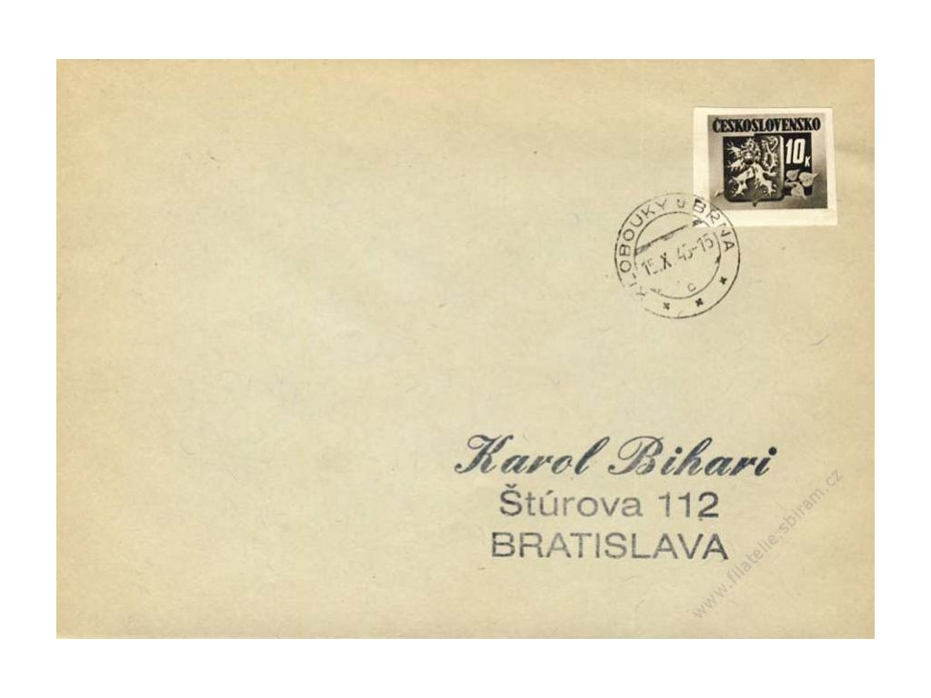 1945, DR Klobouky u Brna, dopis se zn. 10K