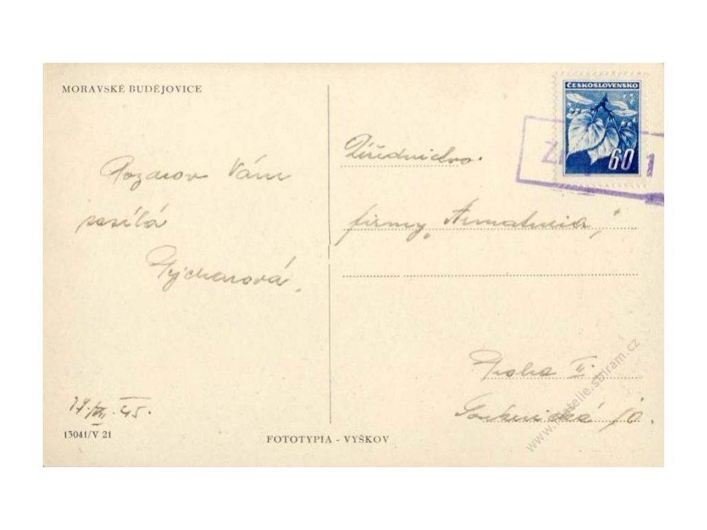 1945, Znojmo 1, rámečkové razítko, pohlednice