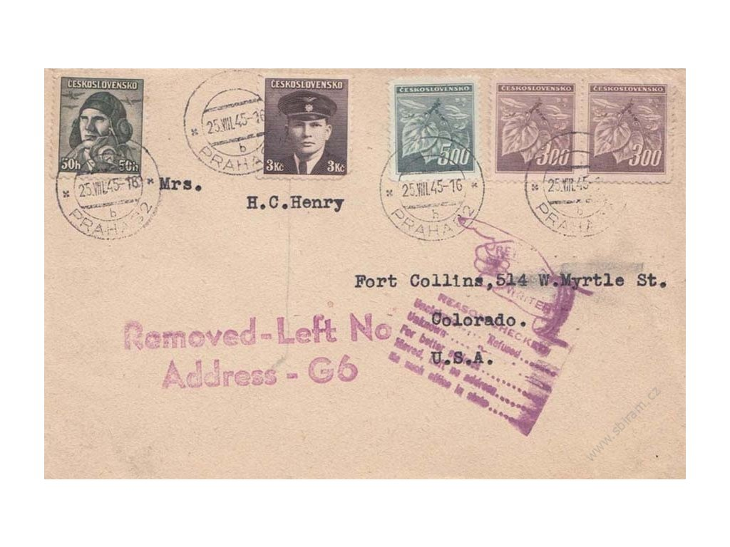 1945, DR Praha, dopis zaslaný do USA, vráceno zpět