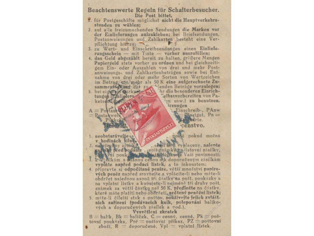 1945, DR Vyškov, podací lístek vyfr. zn. 1Kč, stopy provozu