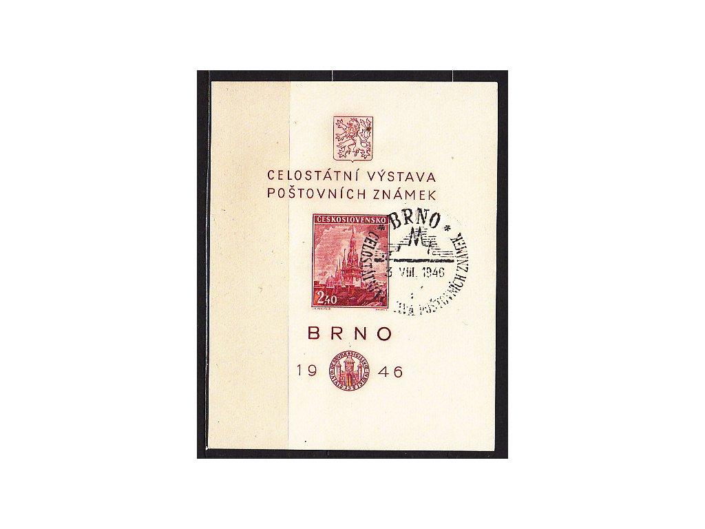 1946, aršík BRNO, pamětní razítko FDC 3.8.46, **