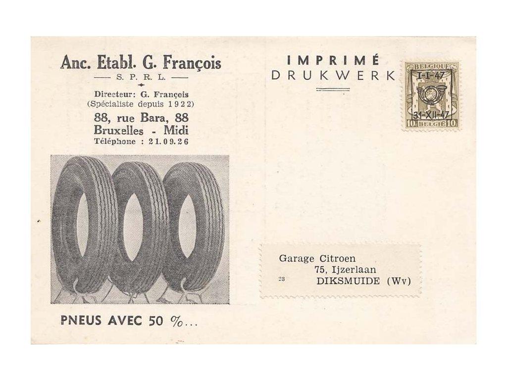 1947, Bruxelles, rozkládací tiskopis zaslaný do Diksmuide