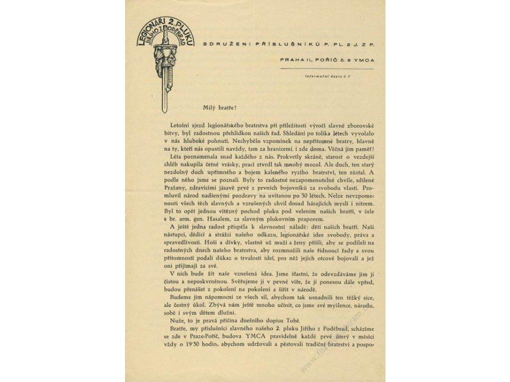 1946, Legionáří 2.pluku Jiřího z Poděbrad, Informační dopis č. 1,