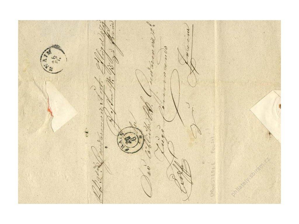 Frain, Znaim, oboustranně prošlý dopis z roku 1860