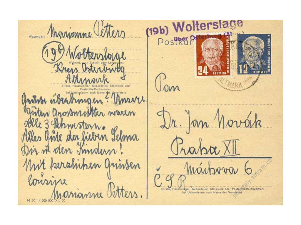 1951, DR Wolterslage + okr. razítko, dopisnice