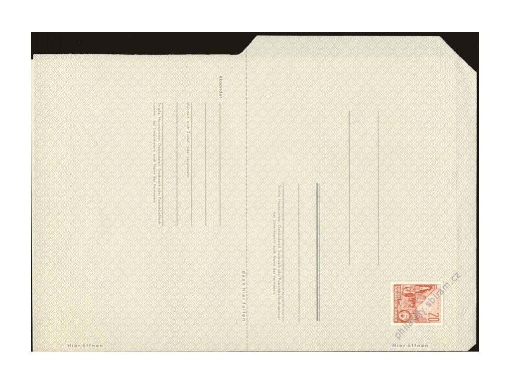 1957, zálepkový arch, nepřeložený, Nr.F1, neprošlé