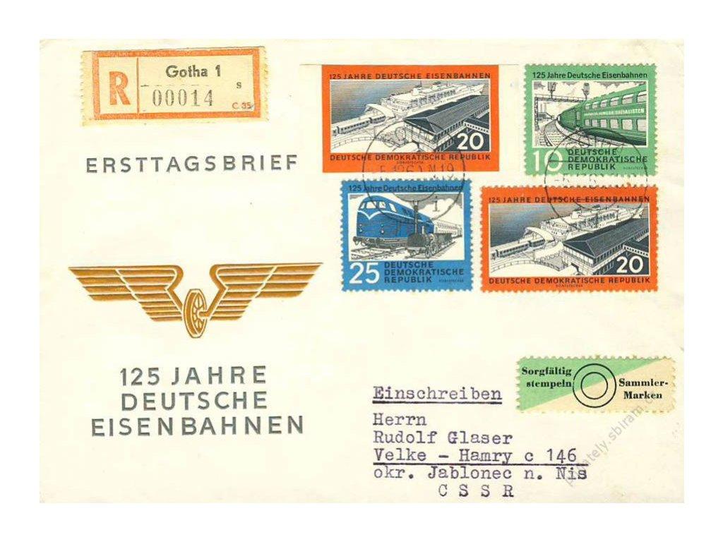 1960, R-FDC železnice, zasl. do ČSSR, stopy stáří