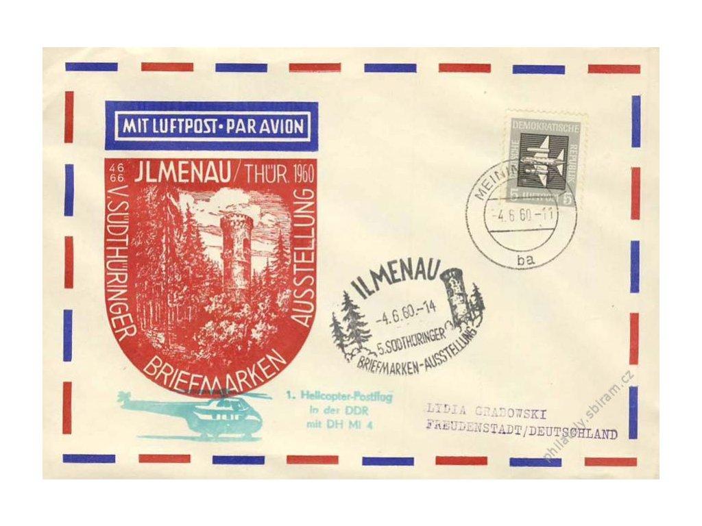 1960, Helikoptérová pošta, obálka, číslovaná