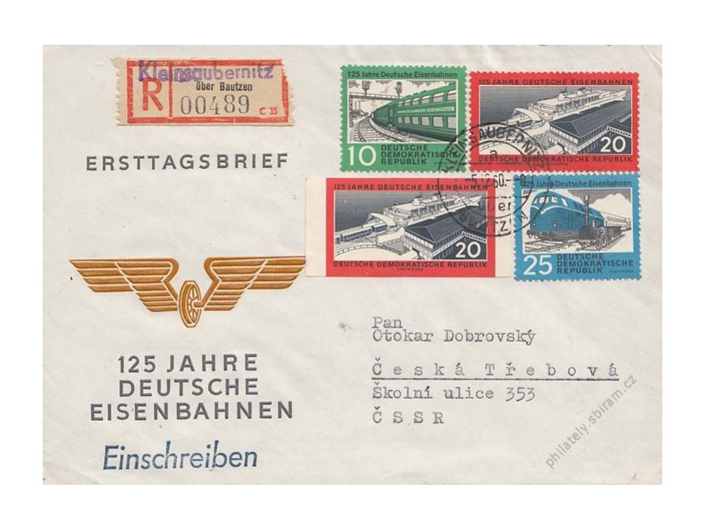 1960, DR Kleinsaubernitz 5.12., FDC, zasláno R