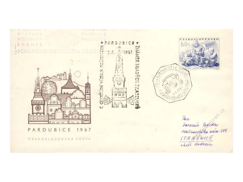 1967, Pardubice, Výstava známek, přepraveno historickým vozidlem