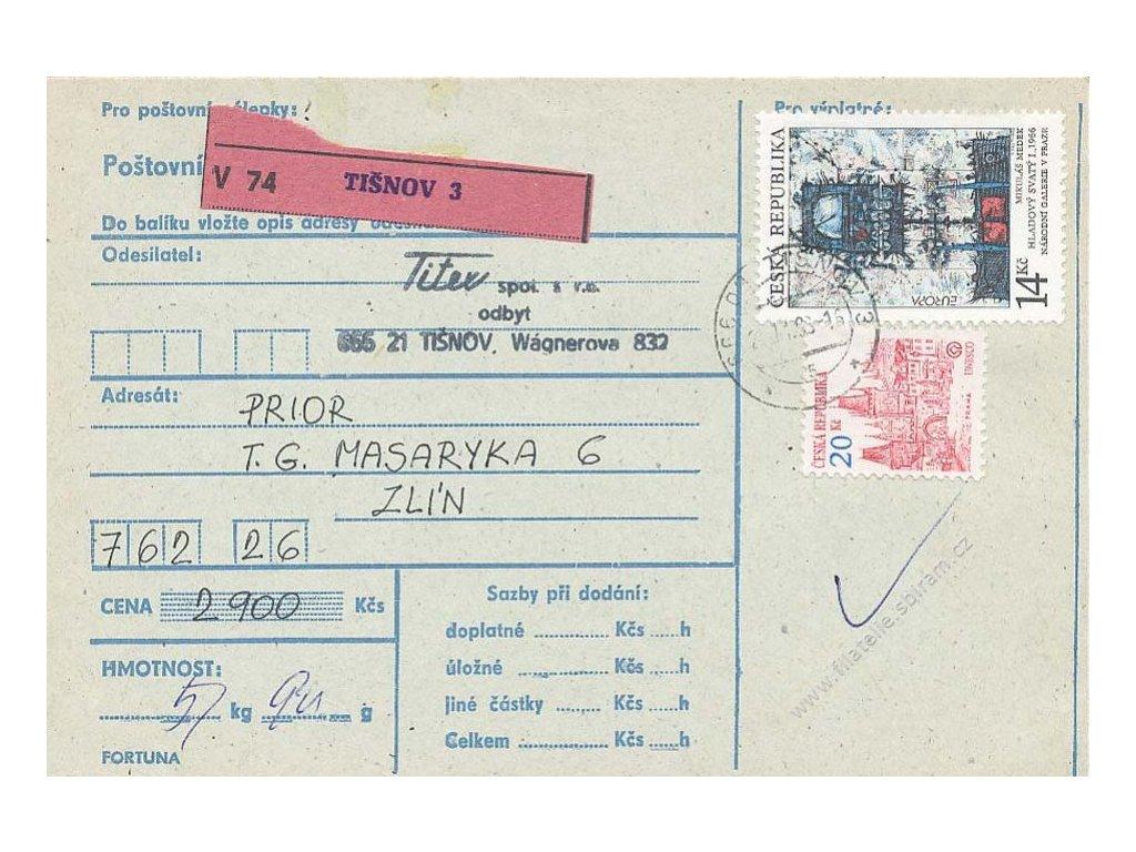 1993, DR Tišnov, použití zn. 14Kč na průvodce