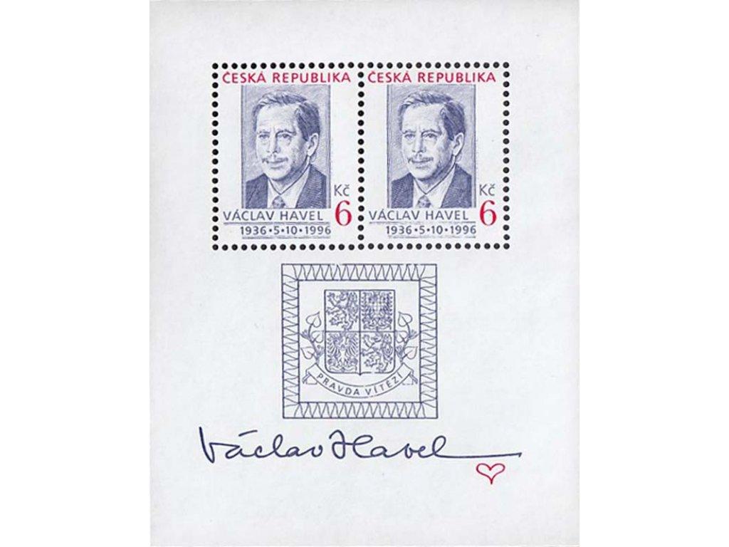 1996, 6Kč aršík Václav Havel, Nr.A124, **