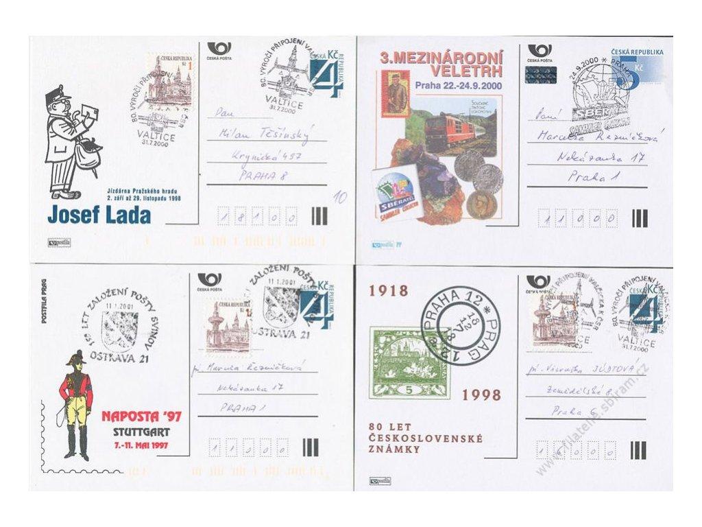 1998/2000, 4 ks dopisnic, pamětní razítka