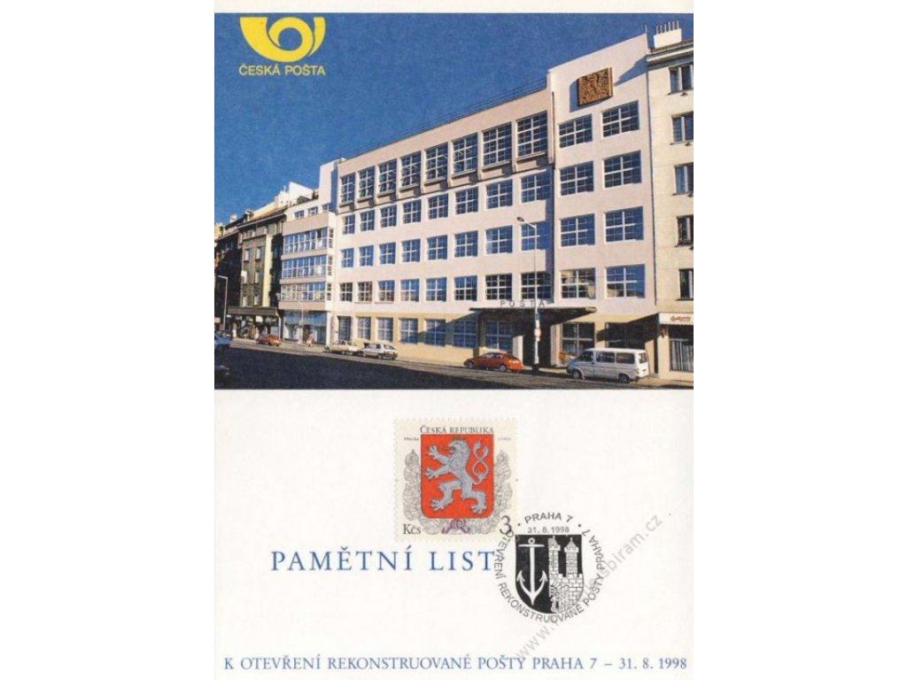 1998, Praha, Otevření rekonstruované pošty Praha 7