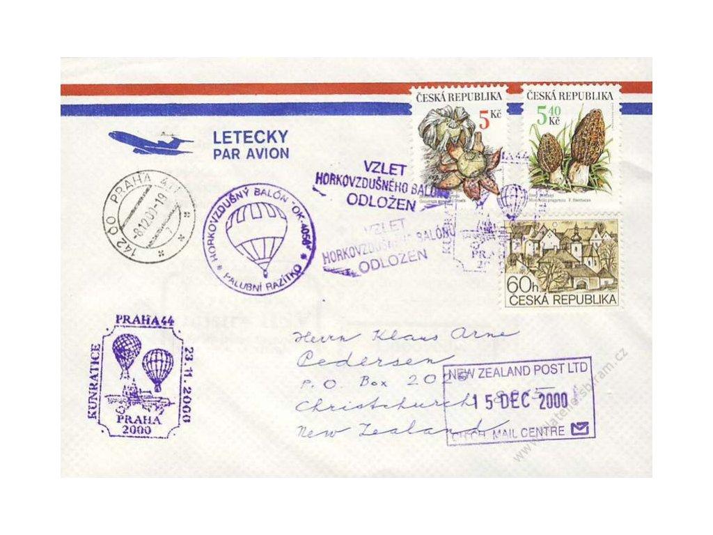2000, Praha, Horkovzdušný balon, dopis
