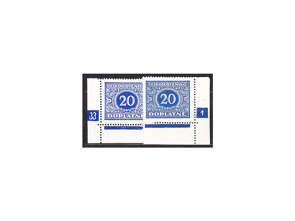 1928, 20Kč modrá, L+P roh. kus s DČ 33-1, Nr.DL66, **