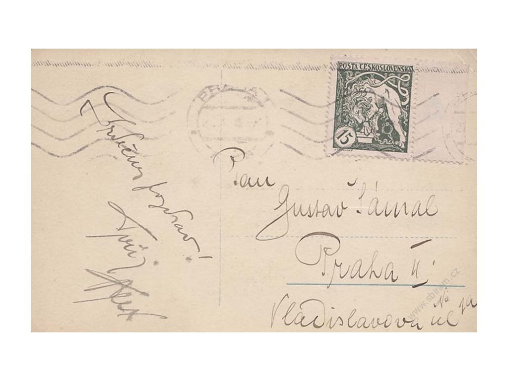 1919, DR Praha 28.10., pohlednice vyfr. zn. 15h, stopy provozu