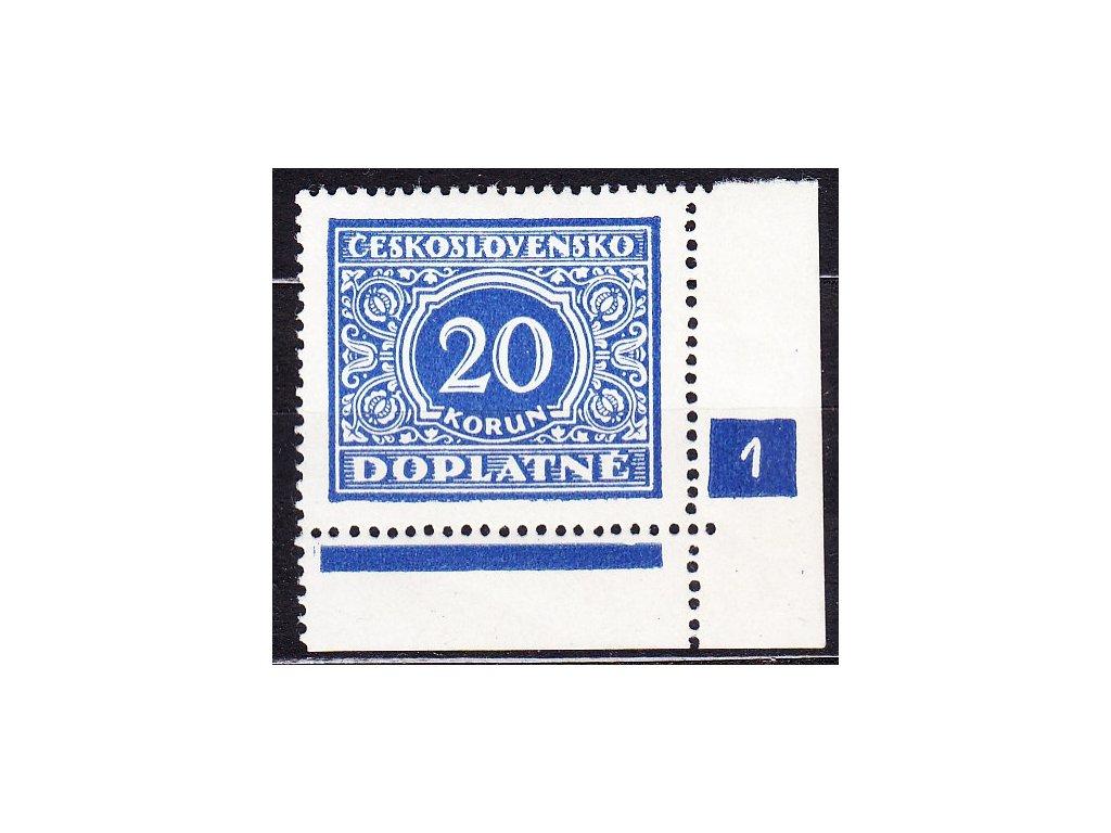 1928, 20Kč modrá, roh. kus s DČ 1, Nr.DL66, **