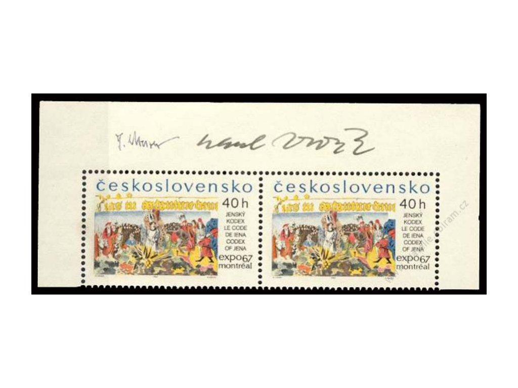 Housa, Vodák, 1967, podpis na známkách, **