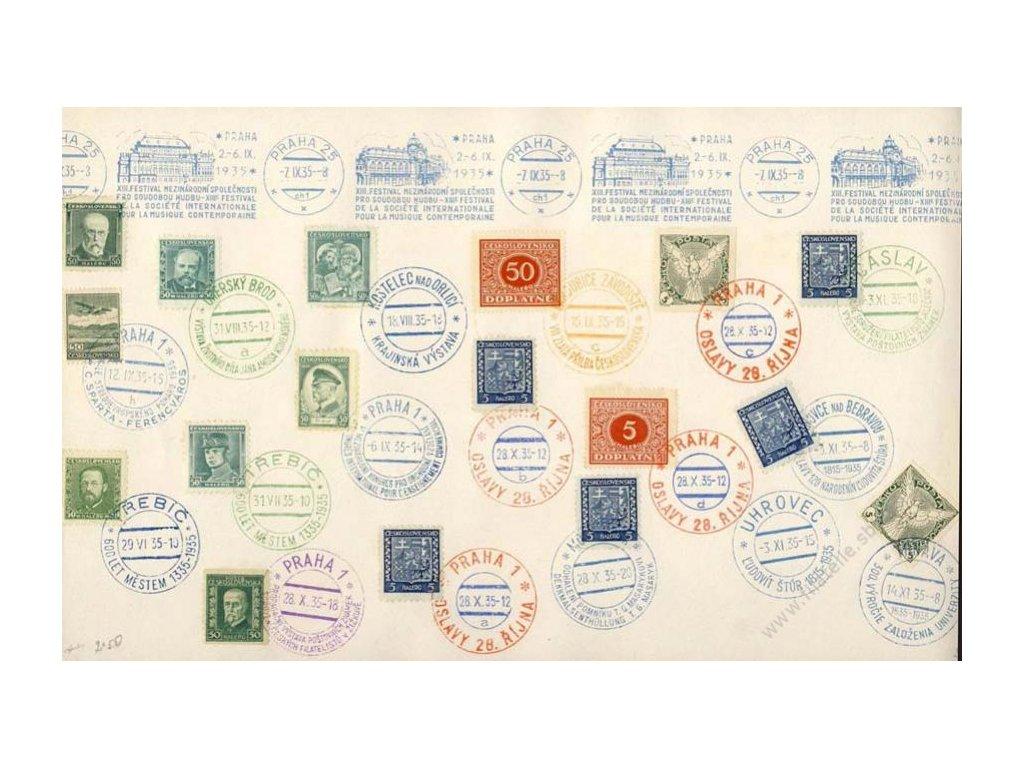 1935, pamětní list, množství razítek, A4
