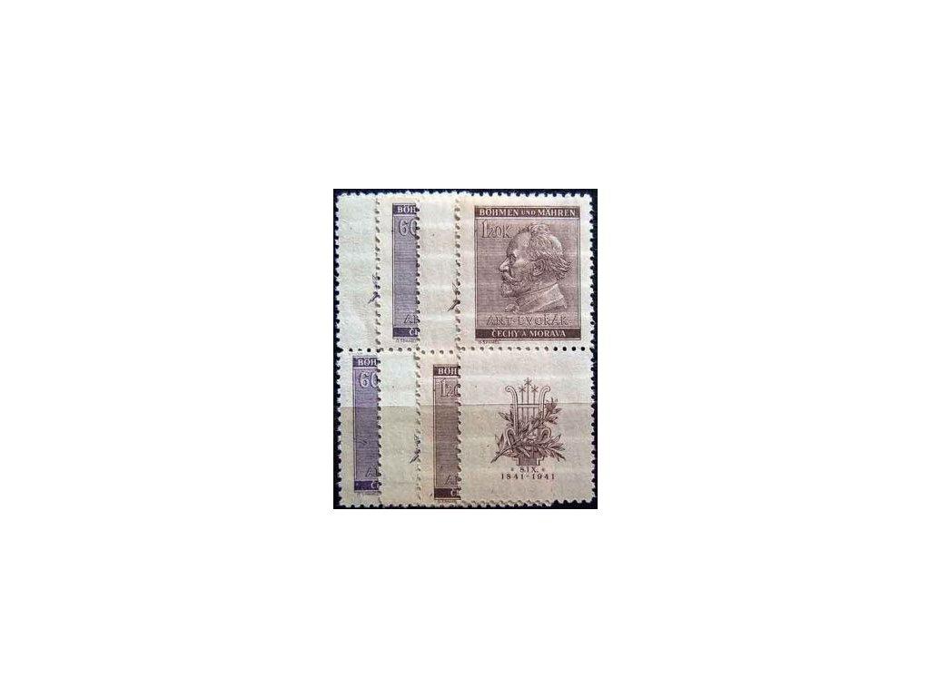 1941, 60h-1.20K Dvořák, horní a dolní kupony, **